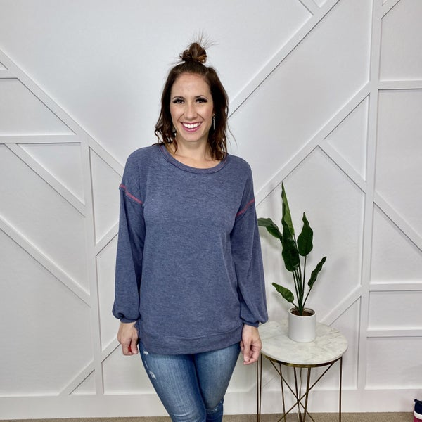 Solid Navy Long Sleeve French Terry Top