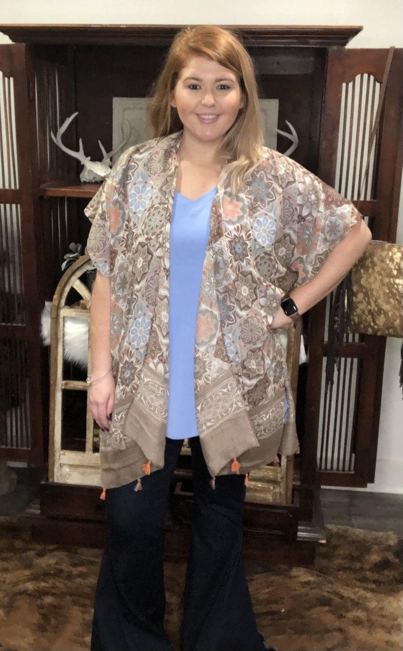Happy And Blessed Kimono, Mocha