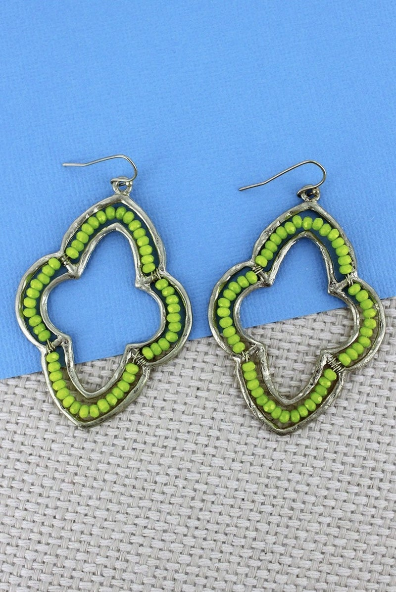 Beaded Moroccan Earrings, Green