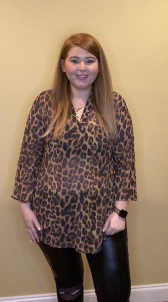 Working Girl Print Top, Cheetah