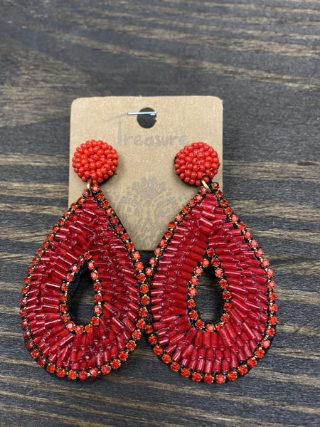 Rise Above Earrings, Red