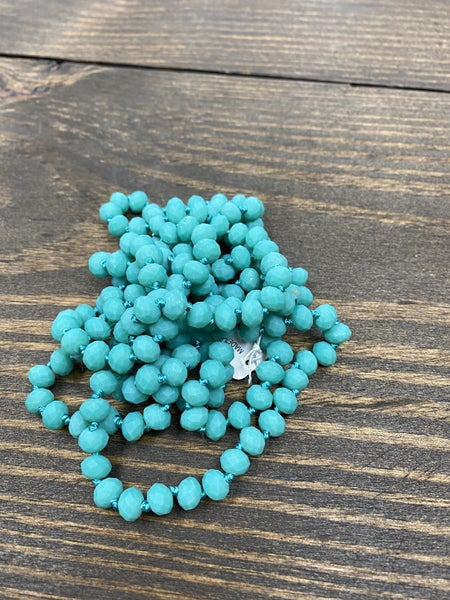 """It is Well 60"""" Wrap Necklace, Turquoise"""