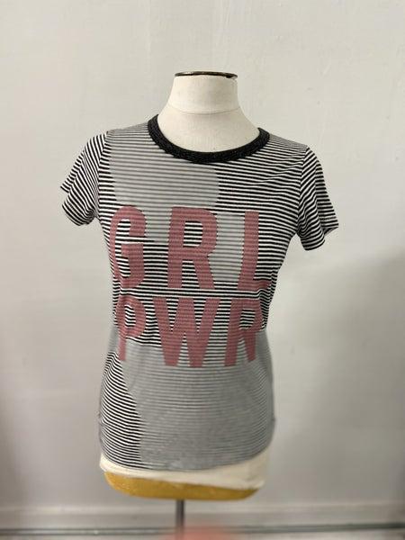 GRL PWR Striped Tee Shirt, Black