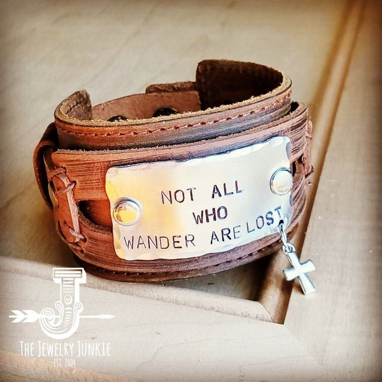 NOT ALL WHO WANDER ARE LOST LEATHER CUFF