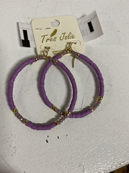 Rubber Beaded Hoop Earrings, Purple
