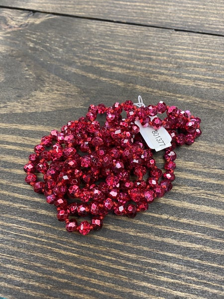 """It is Well 60"""" Wrap Necklace, Firework Red"""