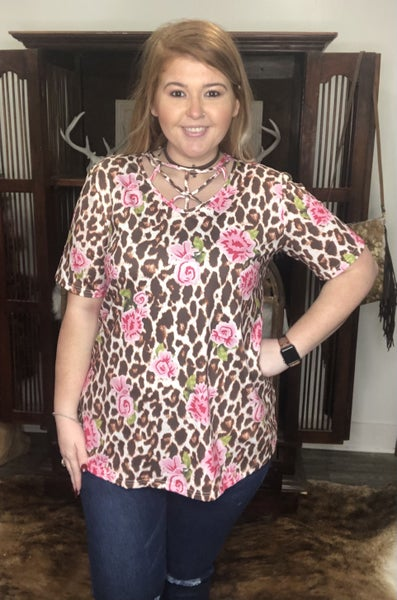 Wild About You Floral Cheetah Top