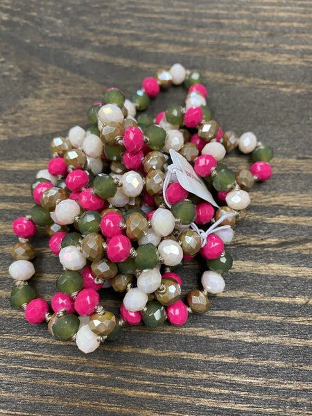 """It is Well 60"""" Wrap Necklace, Fuchsia/ Hunter Green"""