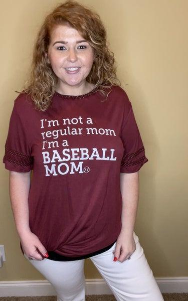 I'm Baseball Mom Top, Maroon