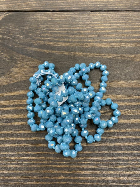 """It is Well 60"""" Wrap Necklace, Disco Blue"""