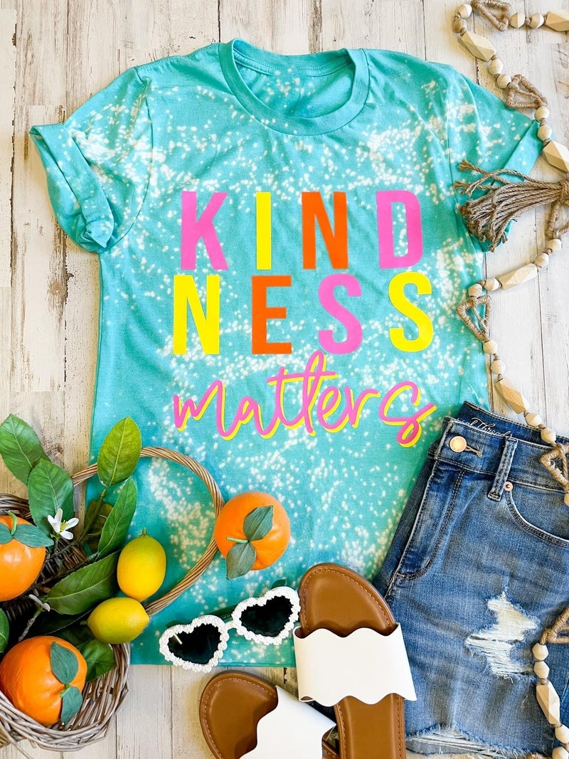Kindness Matters Distressed Graphic Tee, Sea Green