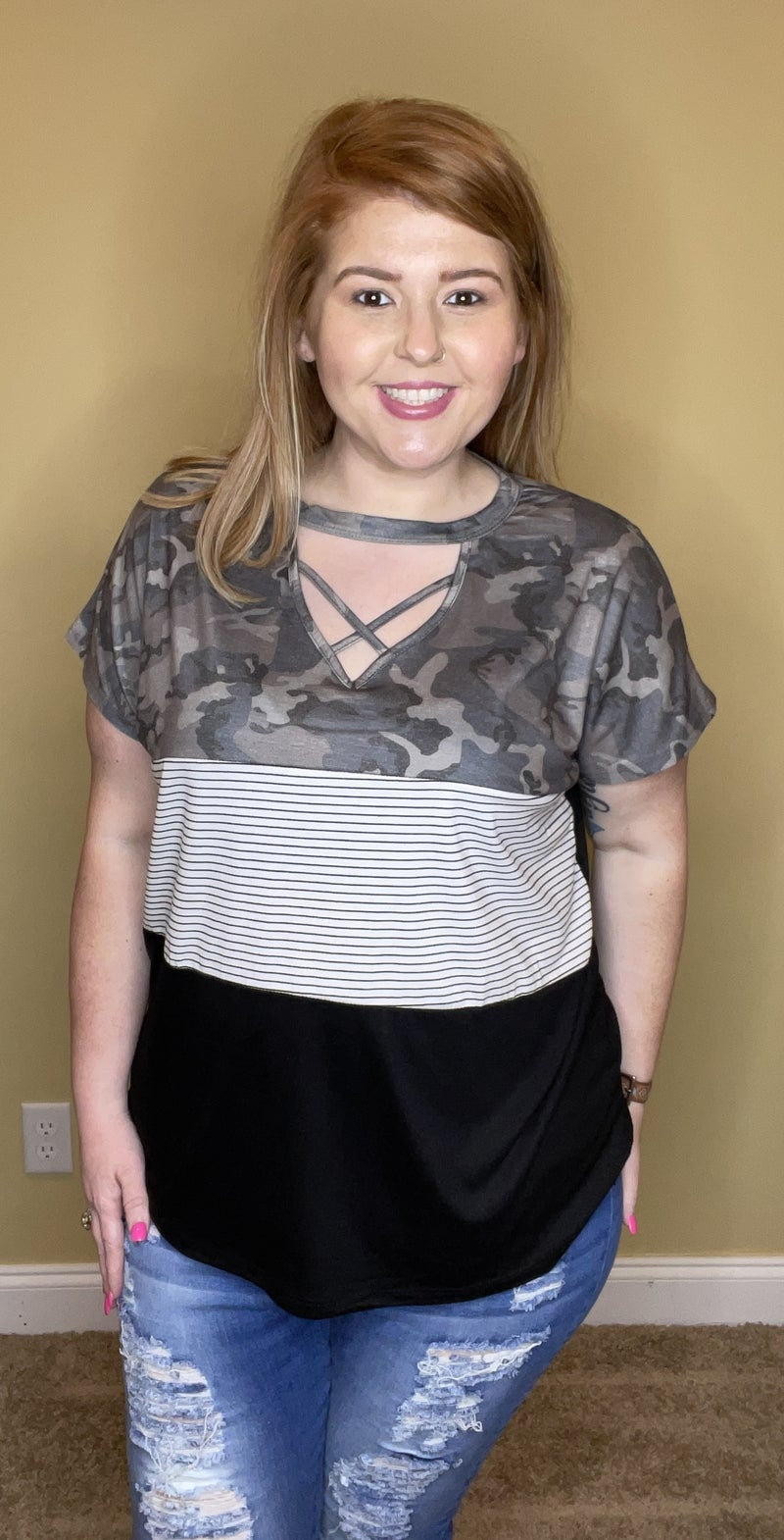 Camo Stripes and Everything Nice Top