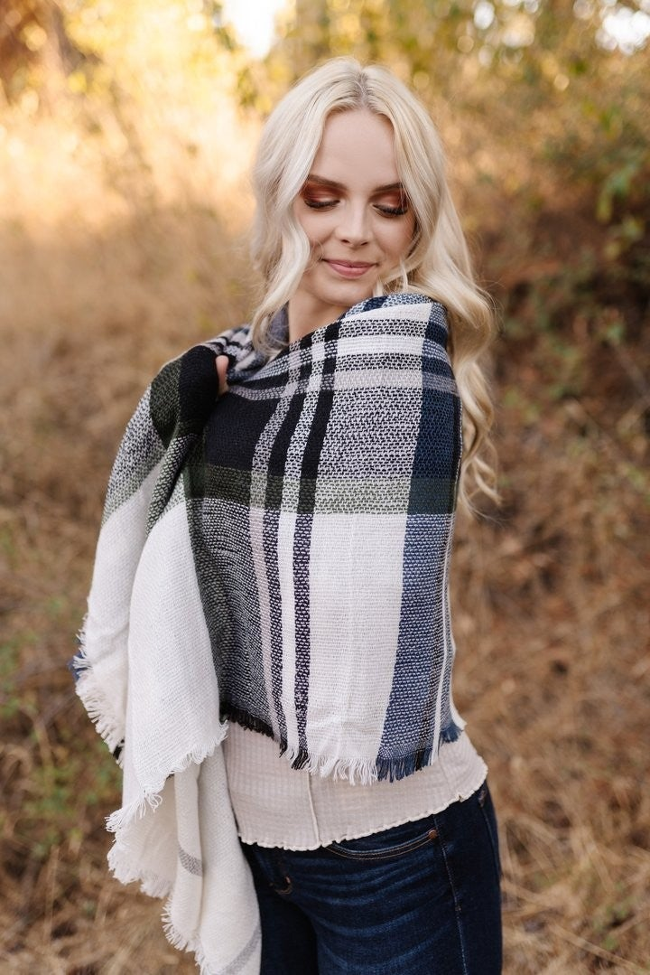 WRAP ME UP IN HUNTER PLAID BLANKET SCARF