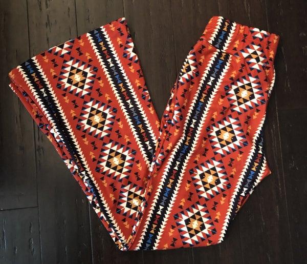Texas Bound Aztec Bellbottoms, Navy Orange