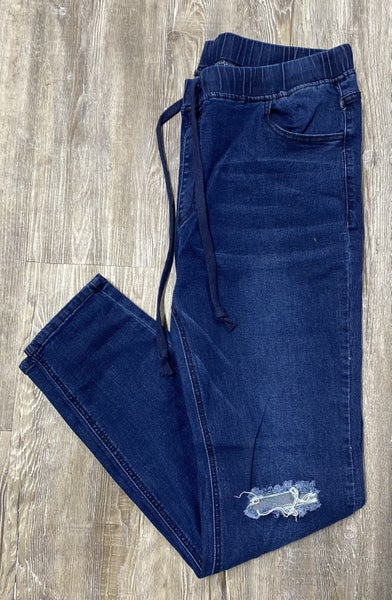 Stepping Out Jogger Jeans, Dark Wash