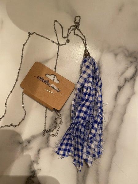 Gingham Necklace, Blue
