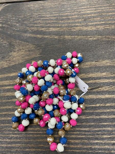 "It is Well 60"" Wrap Necklace, Denim Blue/ Fuchsia"