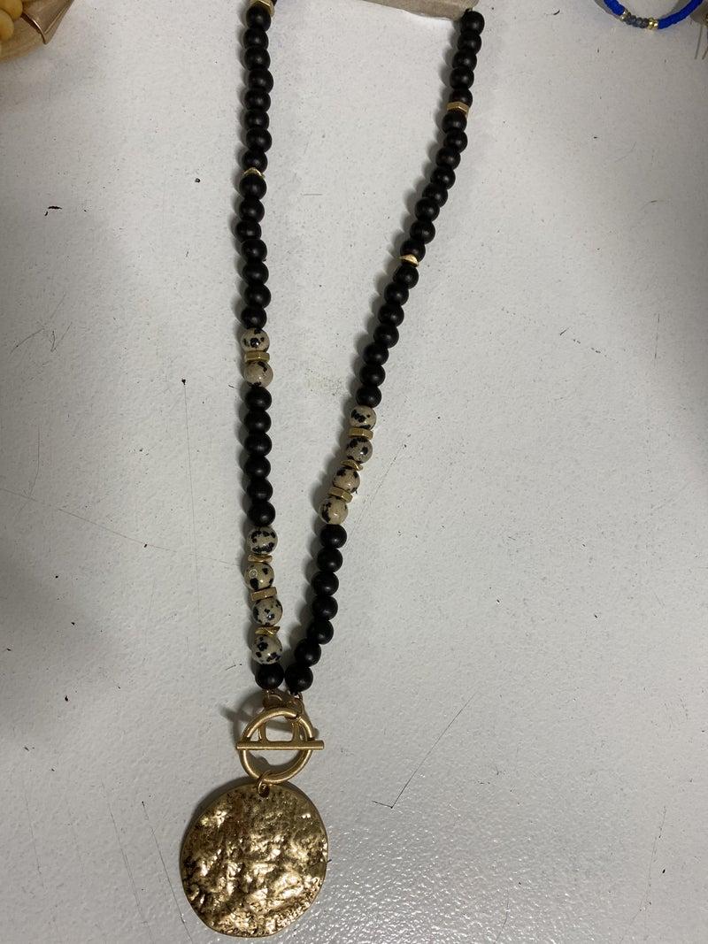 Hammered Disk Beaded Necklace, Black