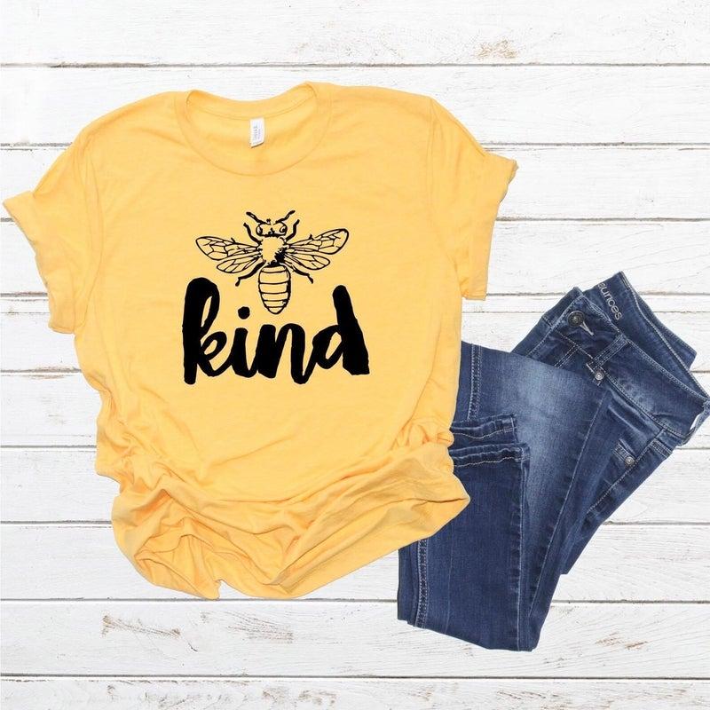 Bee Kind Graphic Tee,Yellow