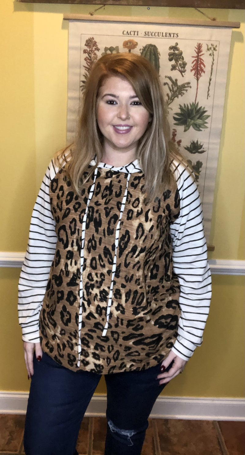 Find Your Way Striped Hoodie, Leopard
