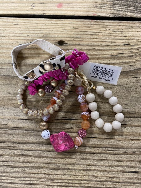 Yours Truly Bracelet Set, Pink/Leo Mix