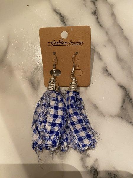 Gingham Earrings,Blue