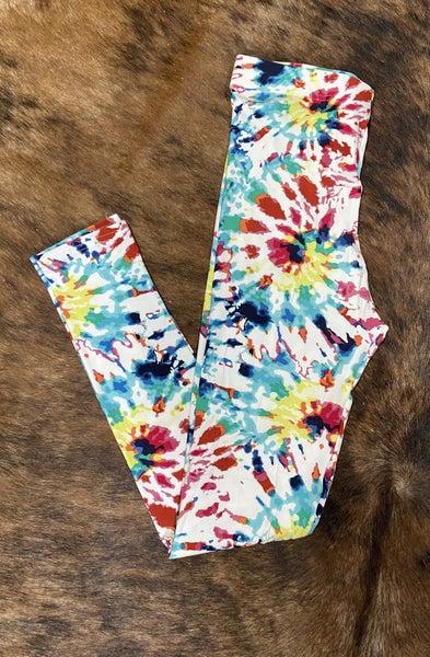 Soft Seeker Teal Touch Tie Dye Leggings