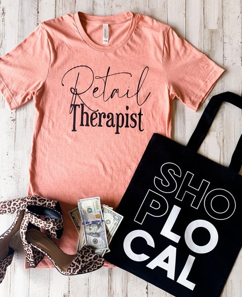 Retail Therapist Graphic Tee,Heather Prism Sunset