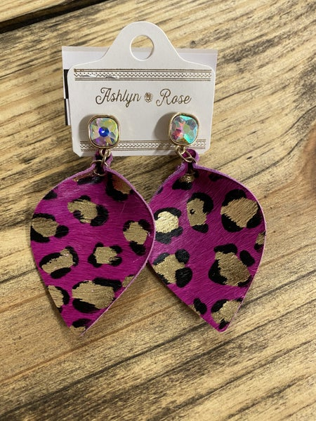 Pink Leopard Fur Earrings