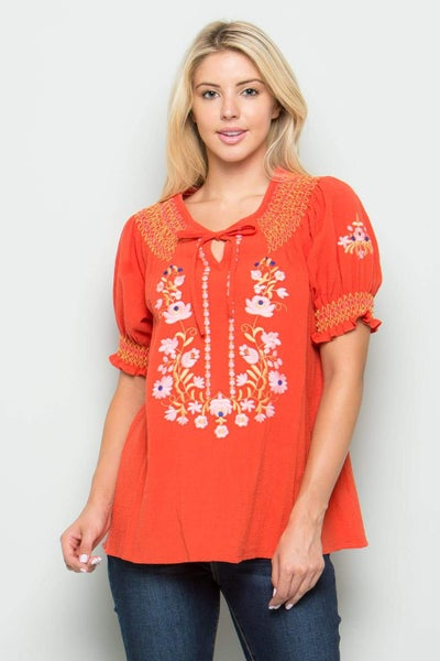 Smock Sleeve Embroidered Top
