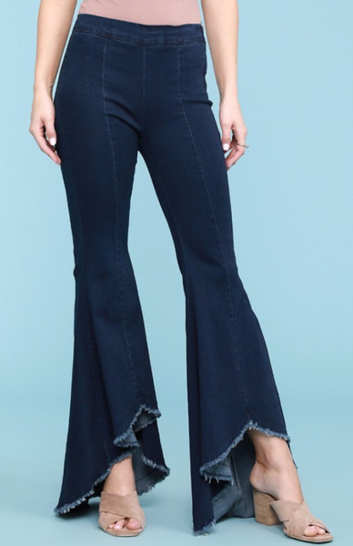 Hi Low Frayed Flares