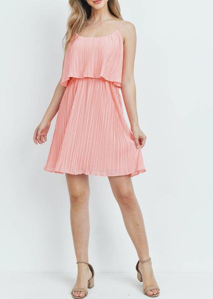 Peachy Pleats Dress