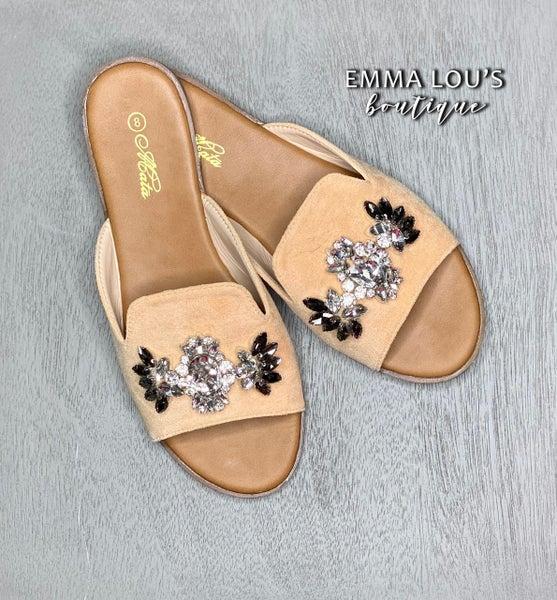 Mata Pearl Slip On Blush Sandal with Rhinestone Pendant
