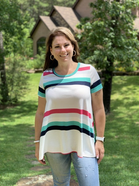 DAILY DEAL - Striped Round Neck Short Sleeve Tunic Top