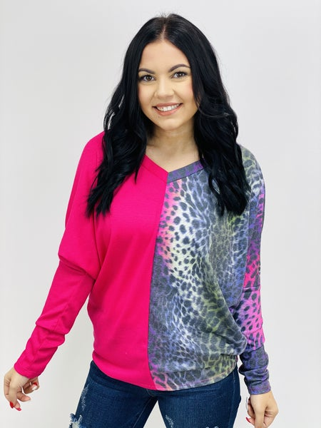 Rainbow Animal Print and Solid Contrast V Neck Top