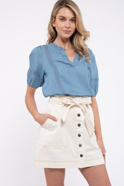 Chambray Lace Short Puff Sleeve Top