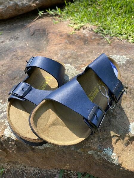 Designer Inspired Leather Navy Sandal