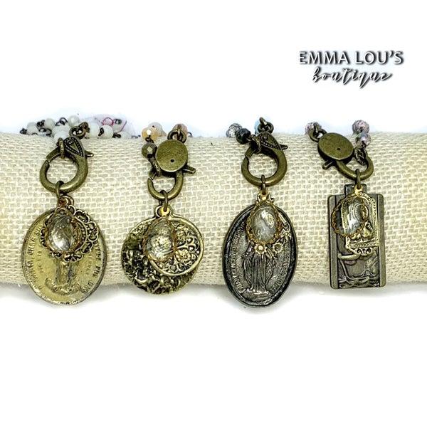 "Melania Clara Sierra 24"" Beaded Necklace with Vintage Medallion"
