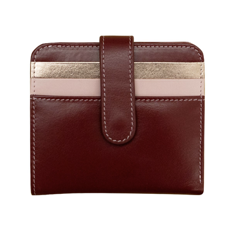 Leather snap bifold wallet with RFID blocking lining