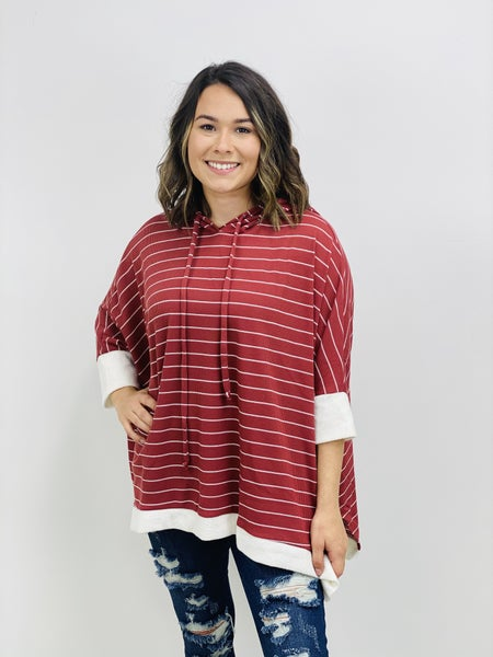 3/4 Sleeve Knit Poncho with Hood