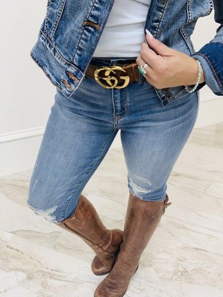 Judy Blue Frayed Hem Skinny Cropped Jeans