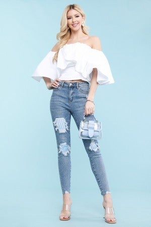 Judy Blue Gingham Patch Hi Waist Skinny Jean