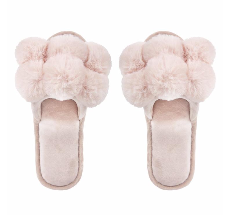 Luxe Pompom Plush Slipper