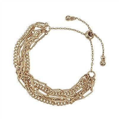 Matte Two Strand Chain Draw String Bracelet