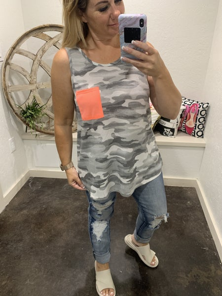 honeyme Grey Camo Tank with Contrast Pocket
