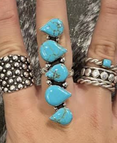 Sterling Silver Adjustable Turquoise Ruler Ring
