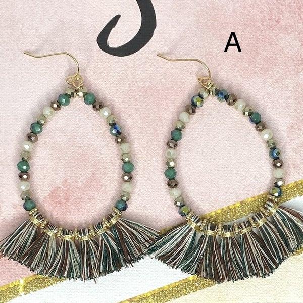 Beaded Dangle Hooped Earrings