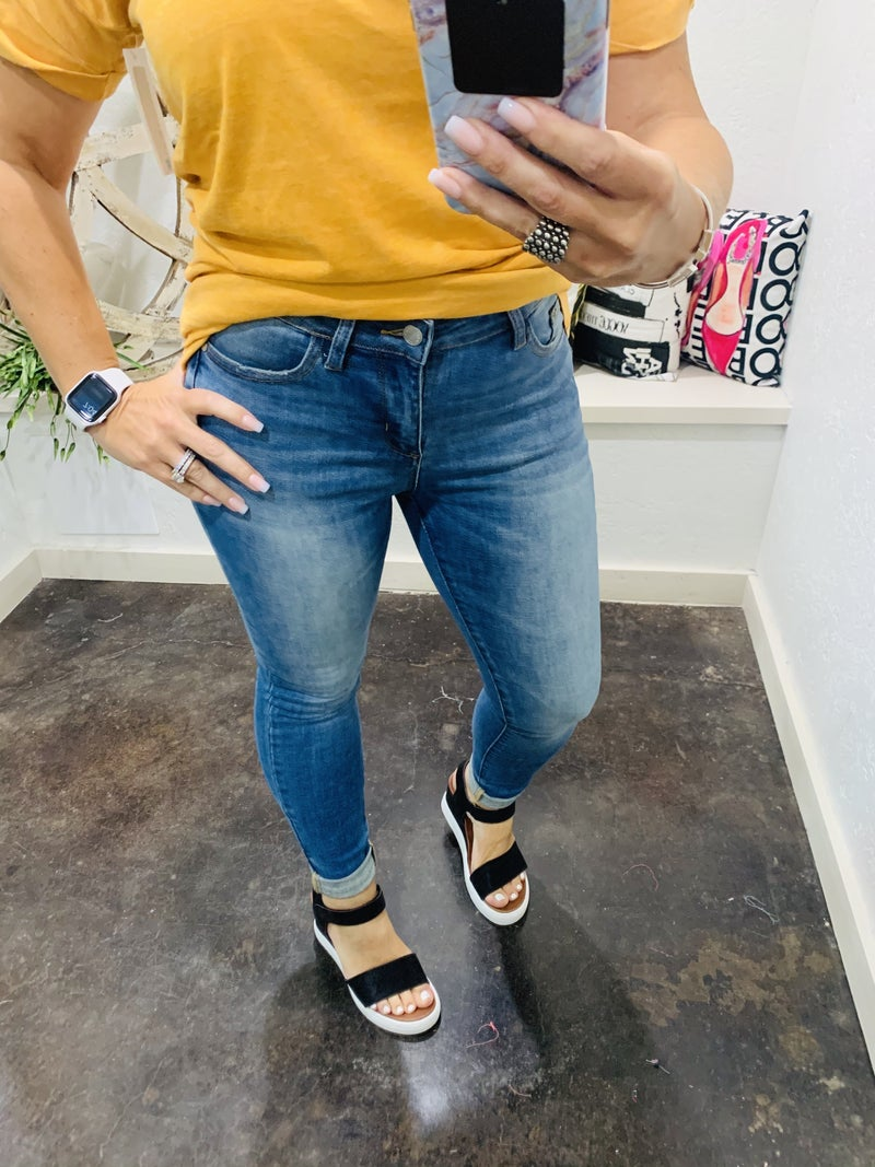 """Judy Blue """"Gwen"""" Pin-Tacked Non Distressed Skinny Denim Jeans"""