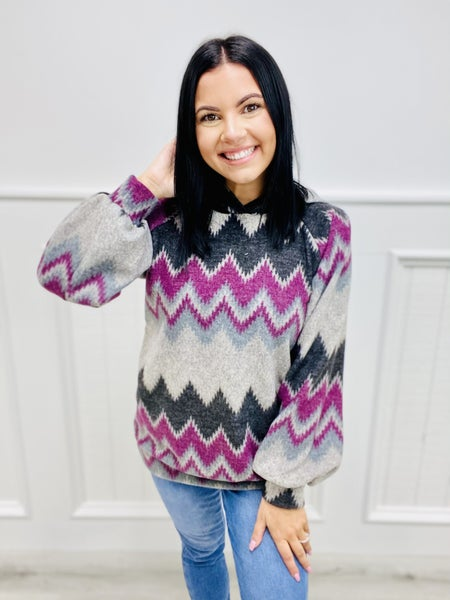 Fleece Long Aztec Sleeve Hood Top