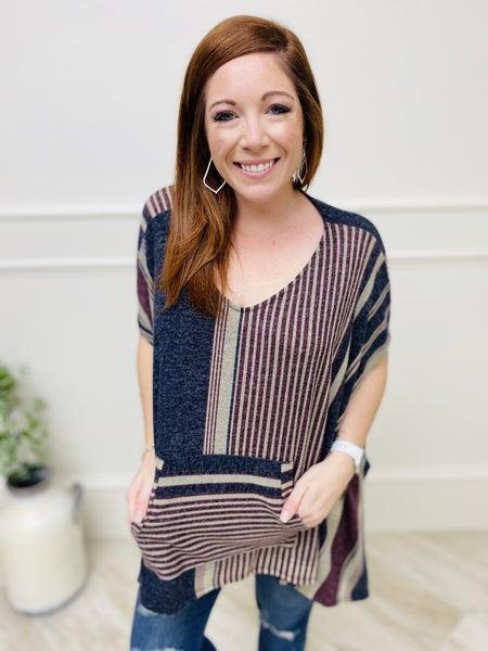 Striped Hacci Knit Oversized Poncho